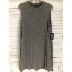 Gray Cut Off Tank Dress